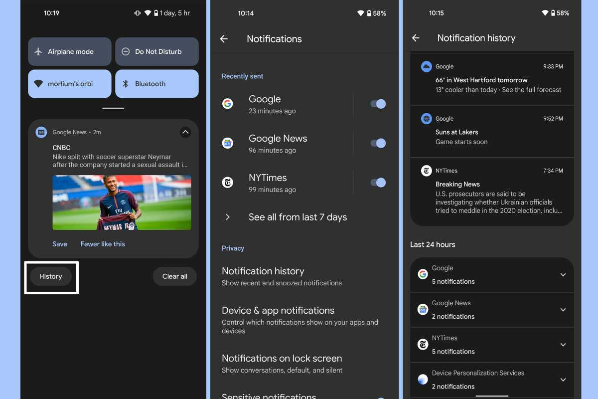 Android 12 notifications history