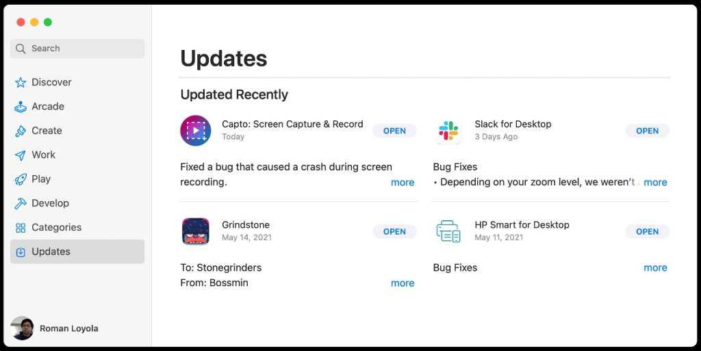 macOS Big Sur App Store updates