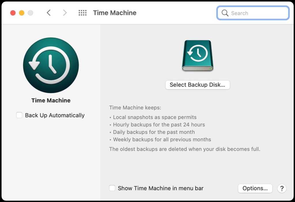 macOS Big Sur Time Machine system preference