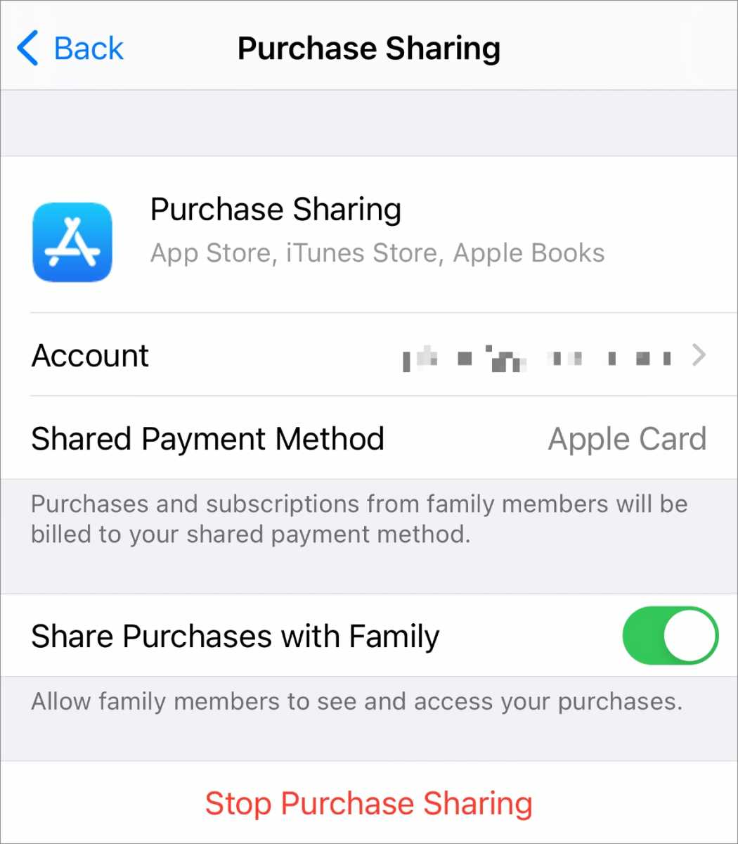 iOS Purchase Sharing
