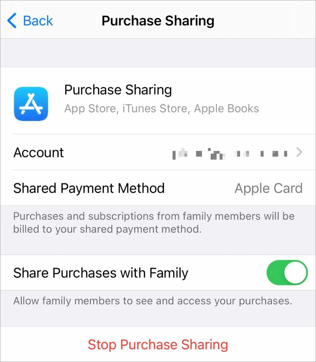 اشتراک گذاری خریدهای iOS