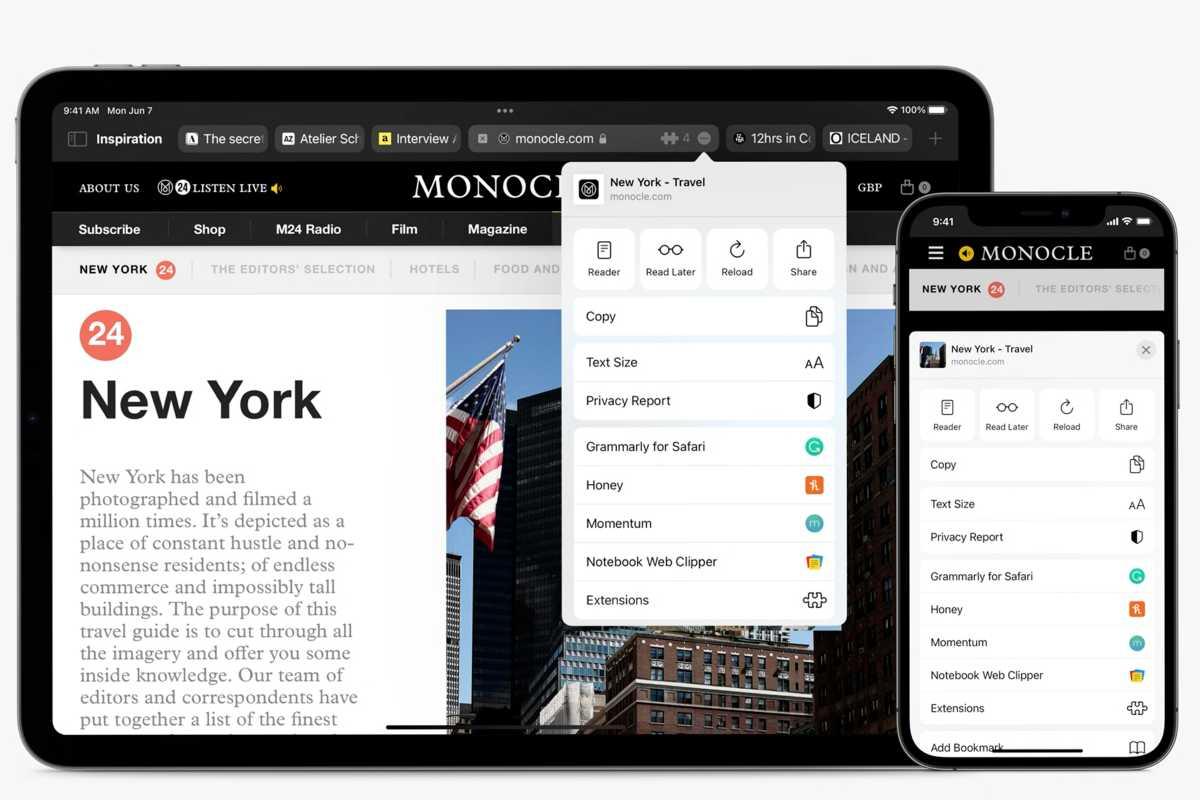 Safari in iOS and iPadOS 15