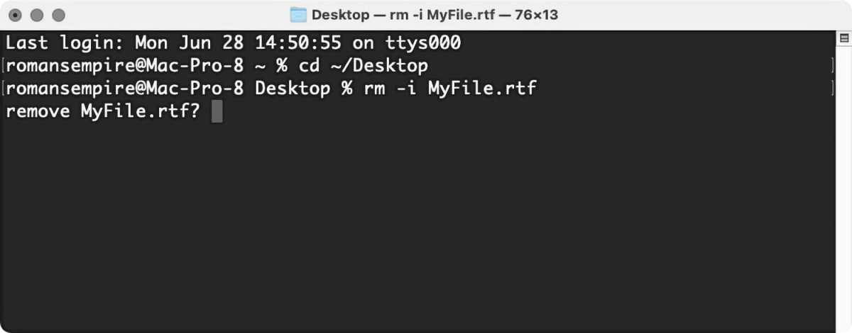 macOS Big Sur remove file confirm