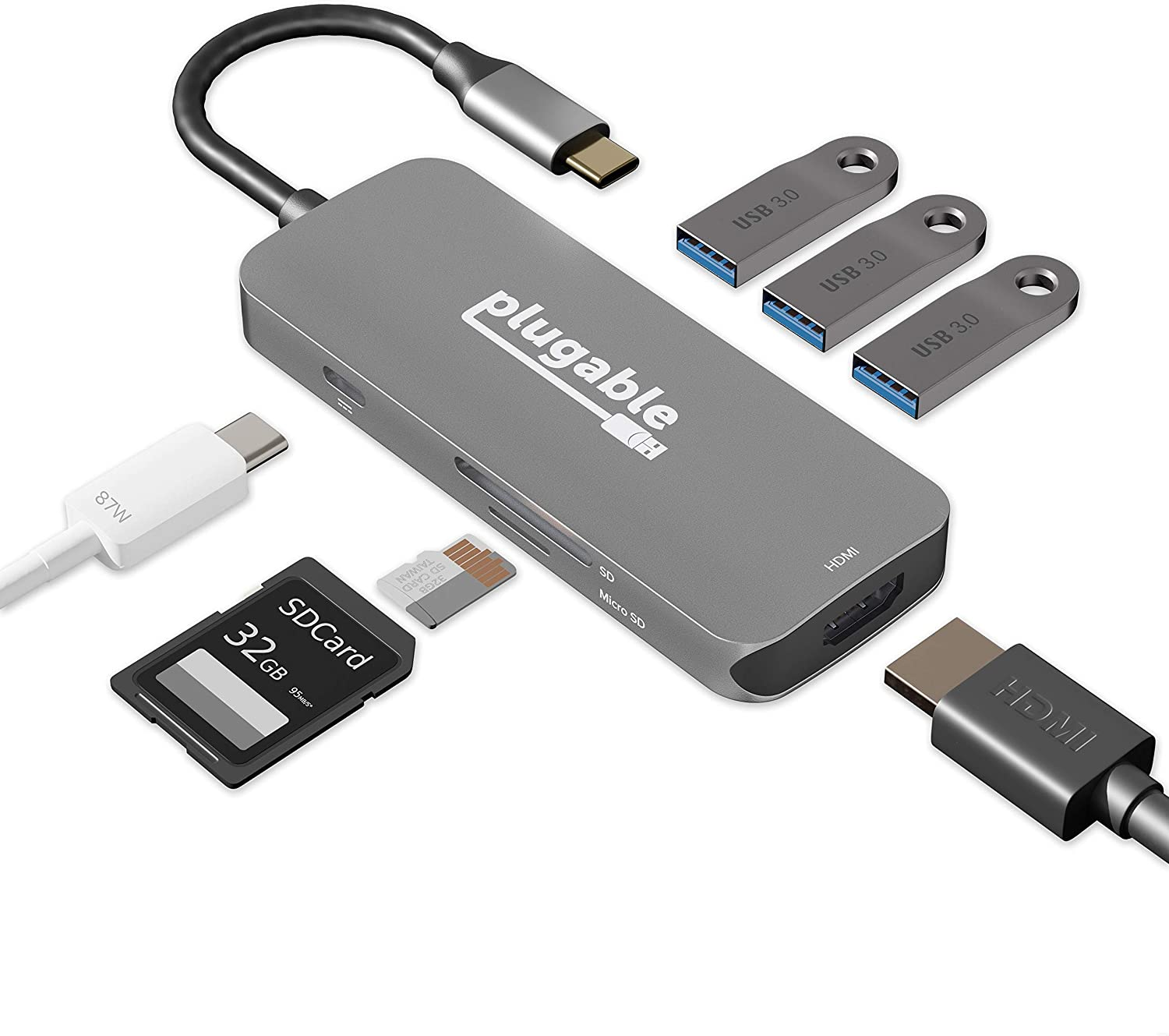 Plugable 7-in-1 USB-C Multiport Adapter