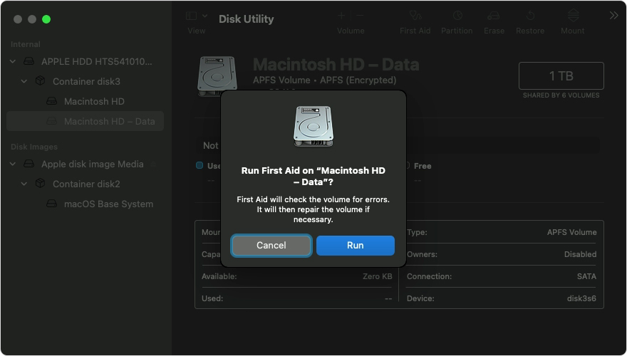 macOS disk utility first aid