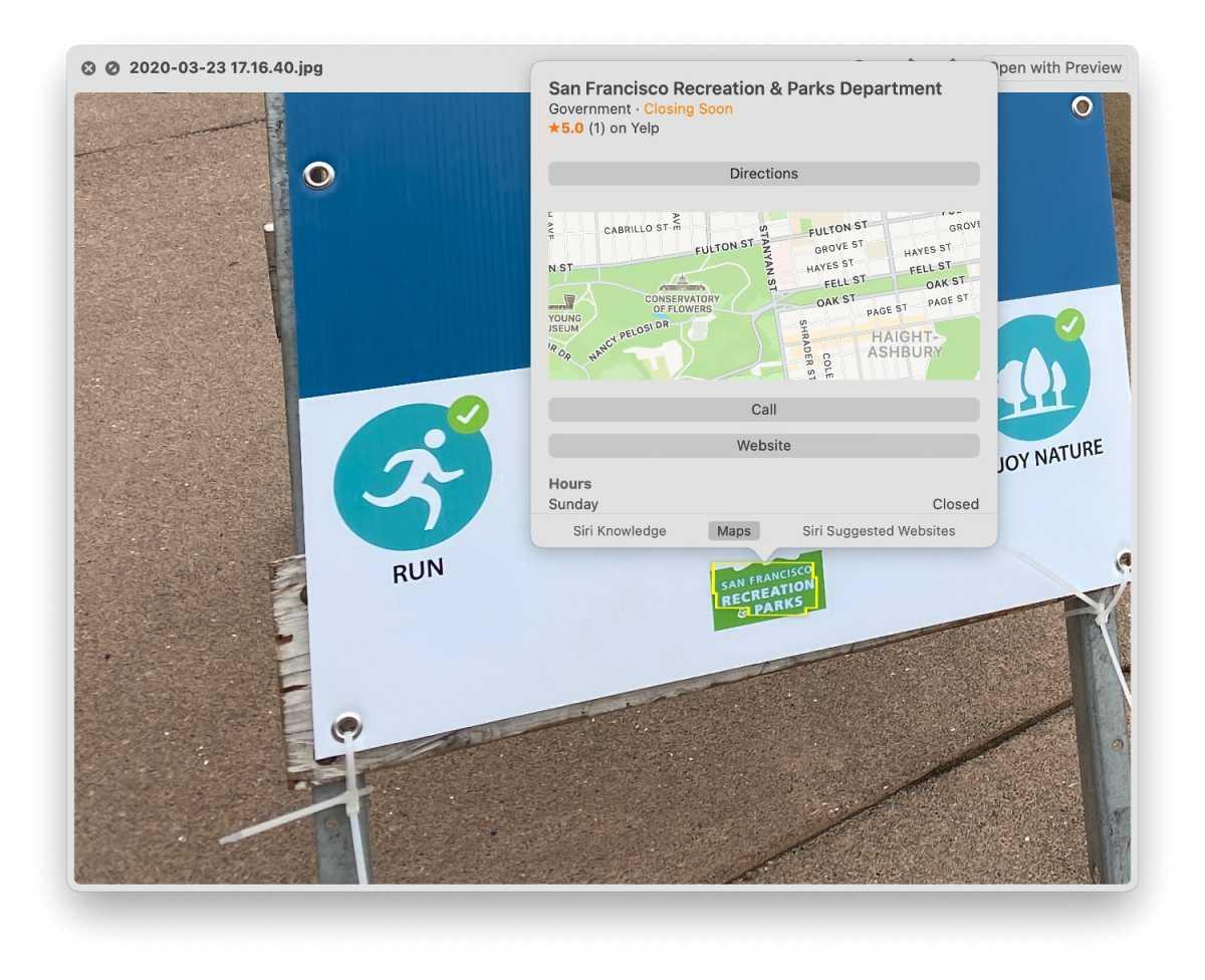 macOS Monterey Live Text Maps