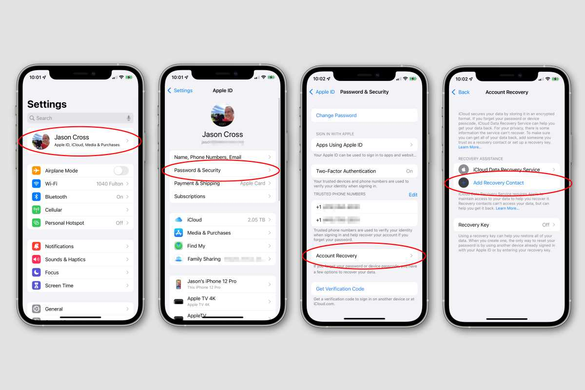 ios 15 recovery contact how to