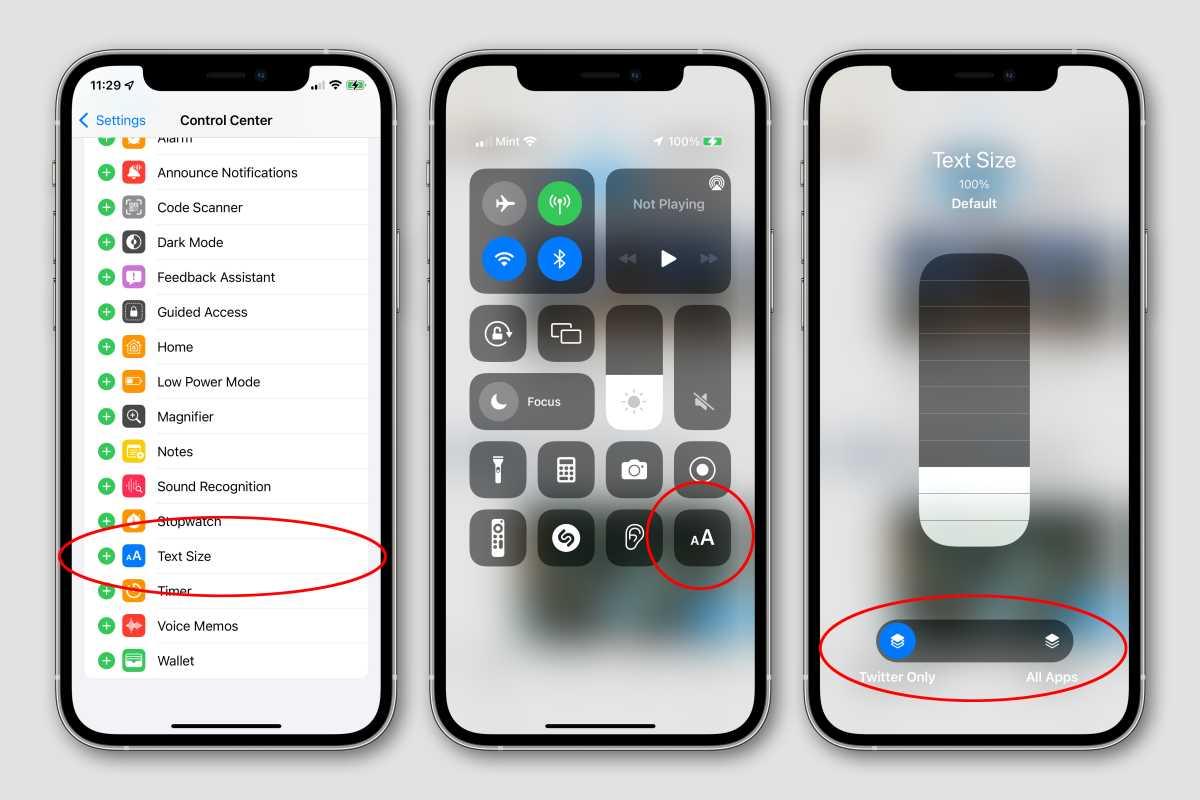 ios15 text size per app