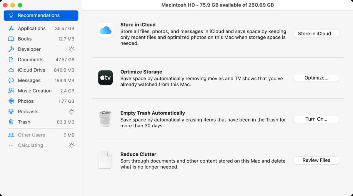 macOS Big Sur optimize storage