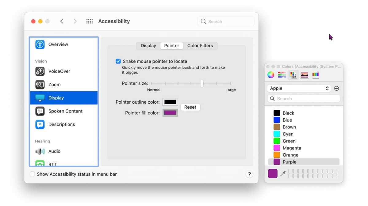 macOS Monterey color cursors