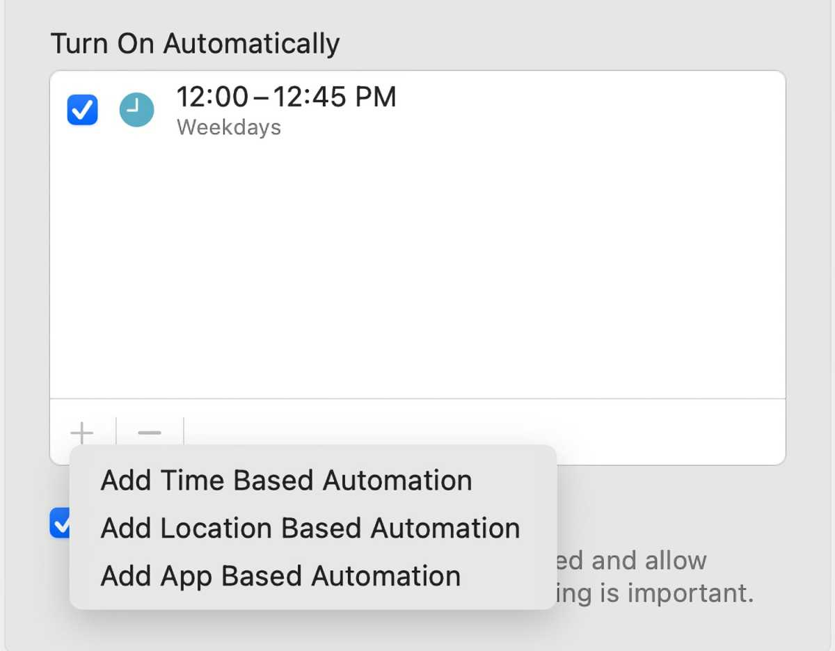 macOS Monterey Focus turn on automations