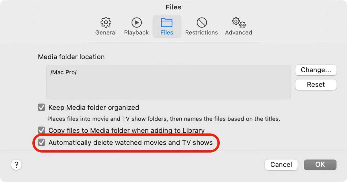 TV app delete files