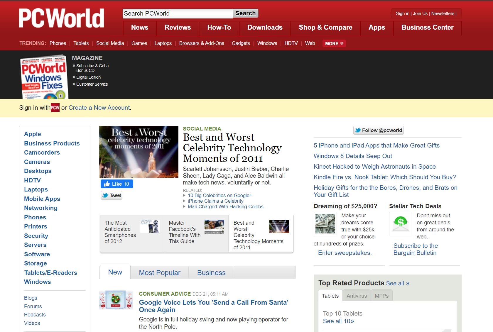 PCWorld website design 2011