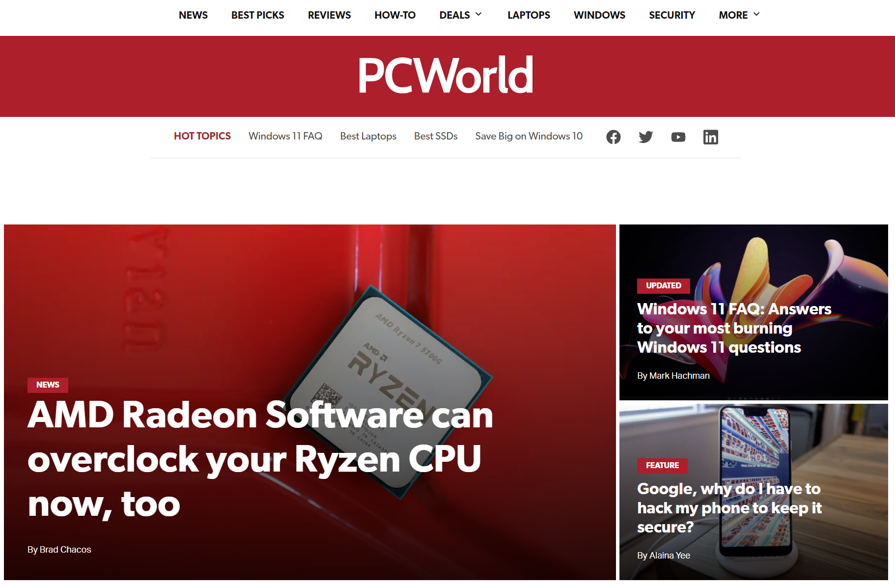 PCWorld home page redesign