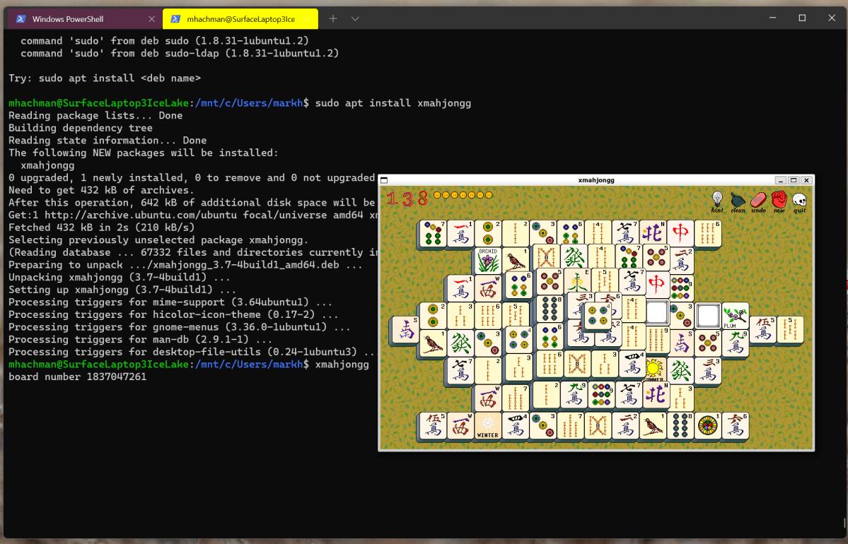 Windows 11 mahjongg WSL2 Linux app