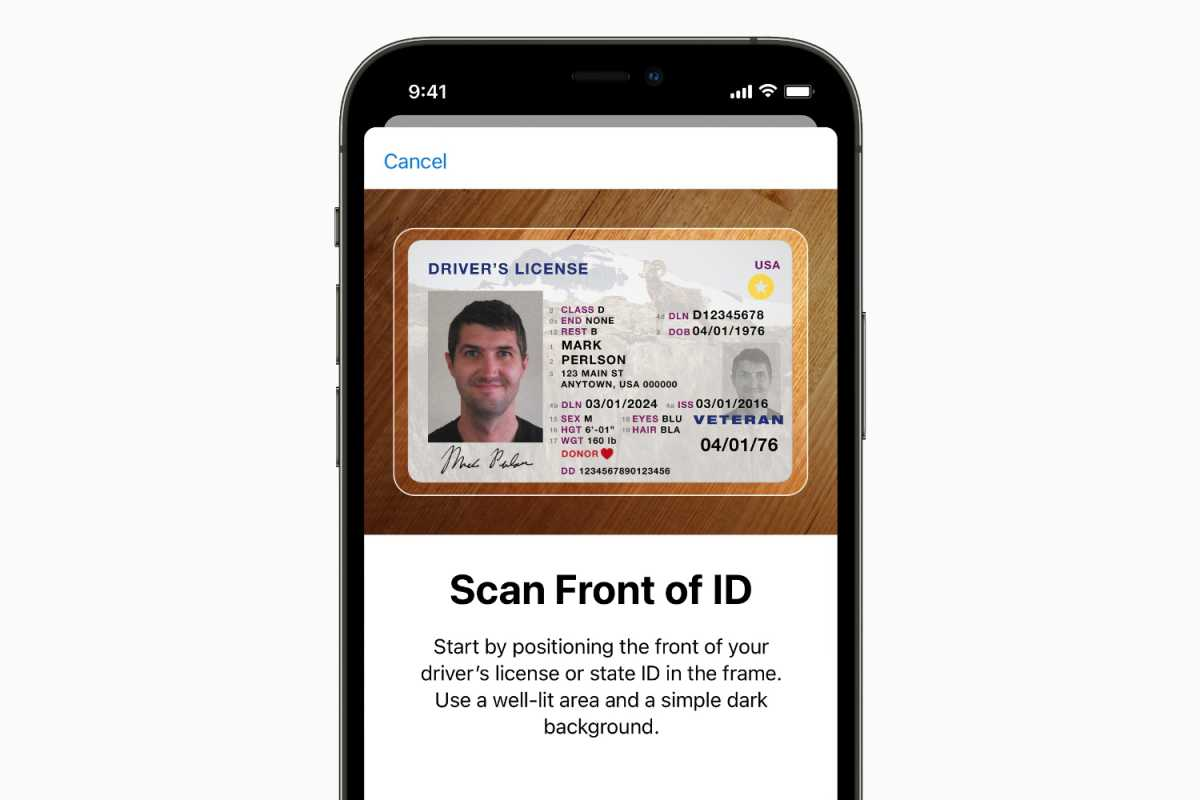 Apple Wallet state ID drivers license scan
