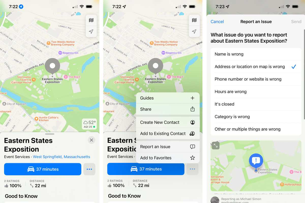 iOS 15 Maps report an issue