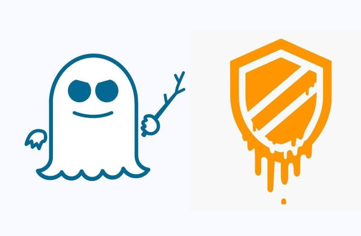 logos for spectre and meltdown security vulnerabilities