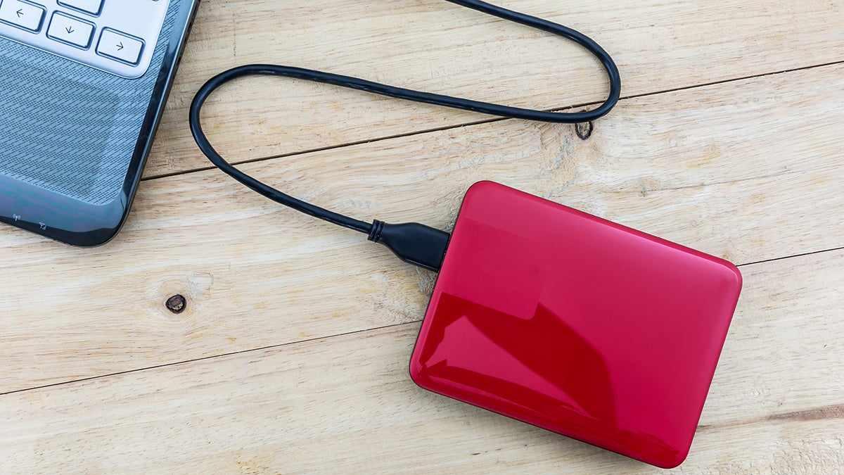 External hard drive connected to a laptop