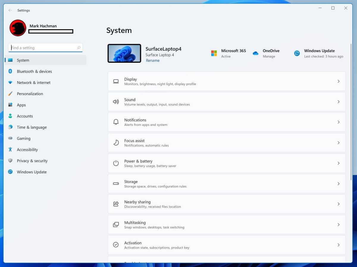 Windows 11 settings menu