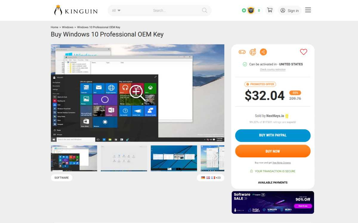 Kinguin Windows 10 Pro key product page