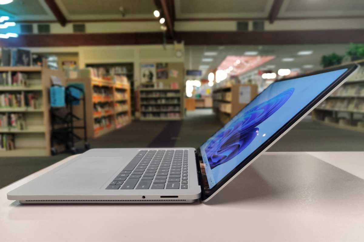 Microsoft Surface Laptop Studio right side clamshell reclined