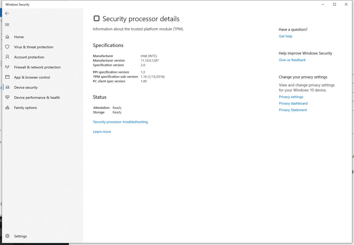 Windows 11 Security Processor page