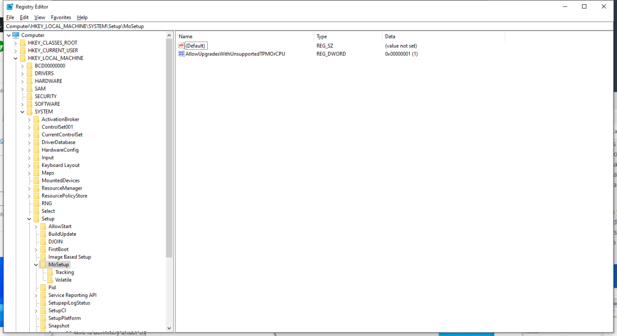 Regedit entry showing how to skip TPM 2.0 check for Windows 11 upgrades
