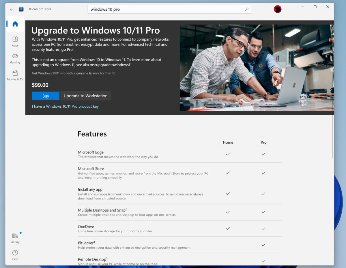 Windows Store upgrade to Windows 11 Pro or Windows 10 Pro