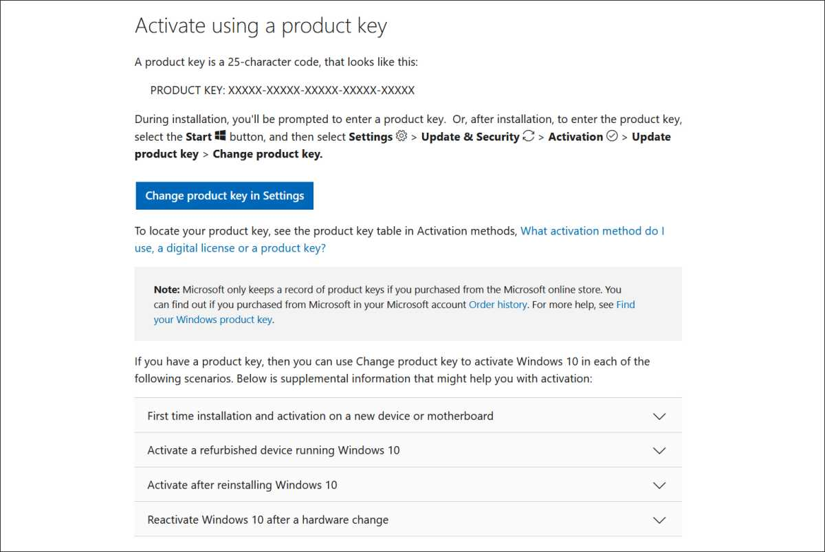 Screenshot from Microsoft's Windows activation support page