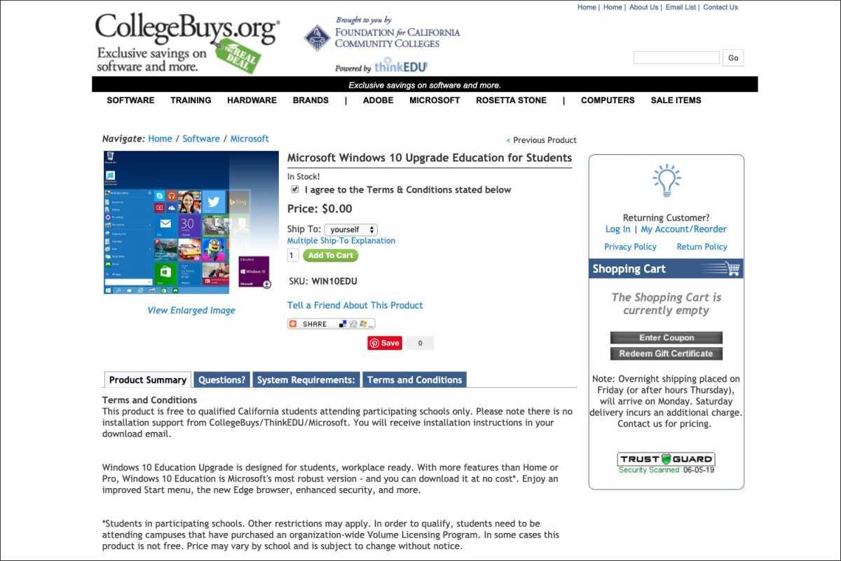 CollegeBuys.org screenshot of Windows 10 Education license