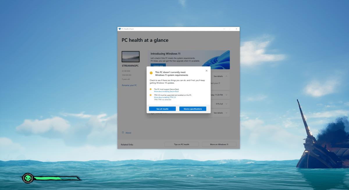 Microsoft's PC Health Check app rejection screenshot