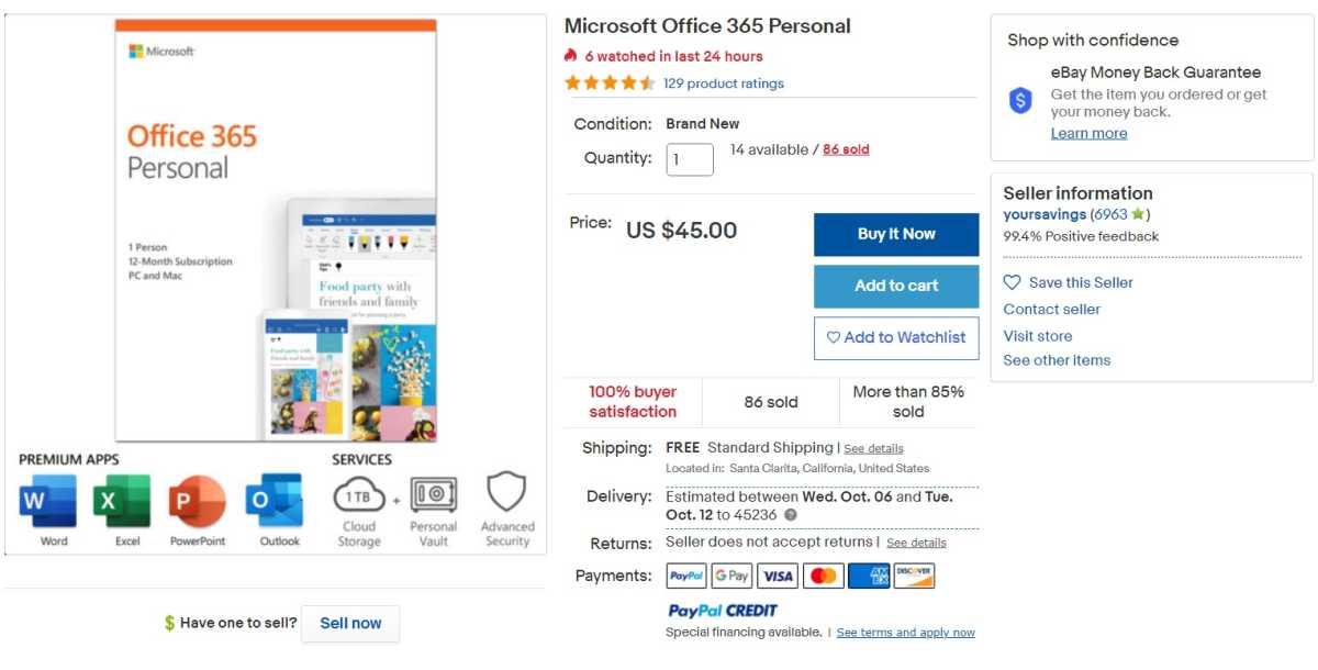 Office 365 eBay listing