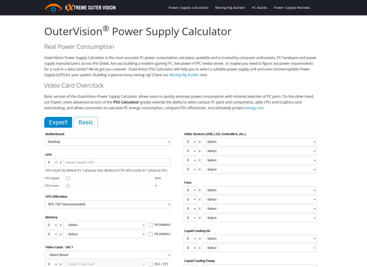 outervision power supply calculator website screenshot