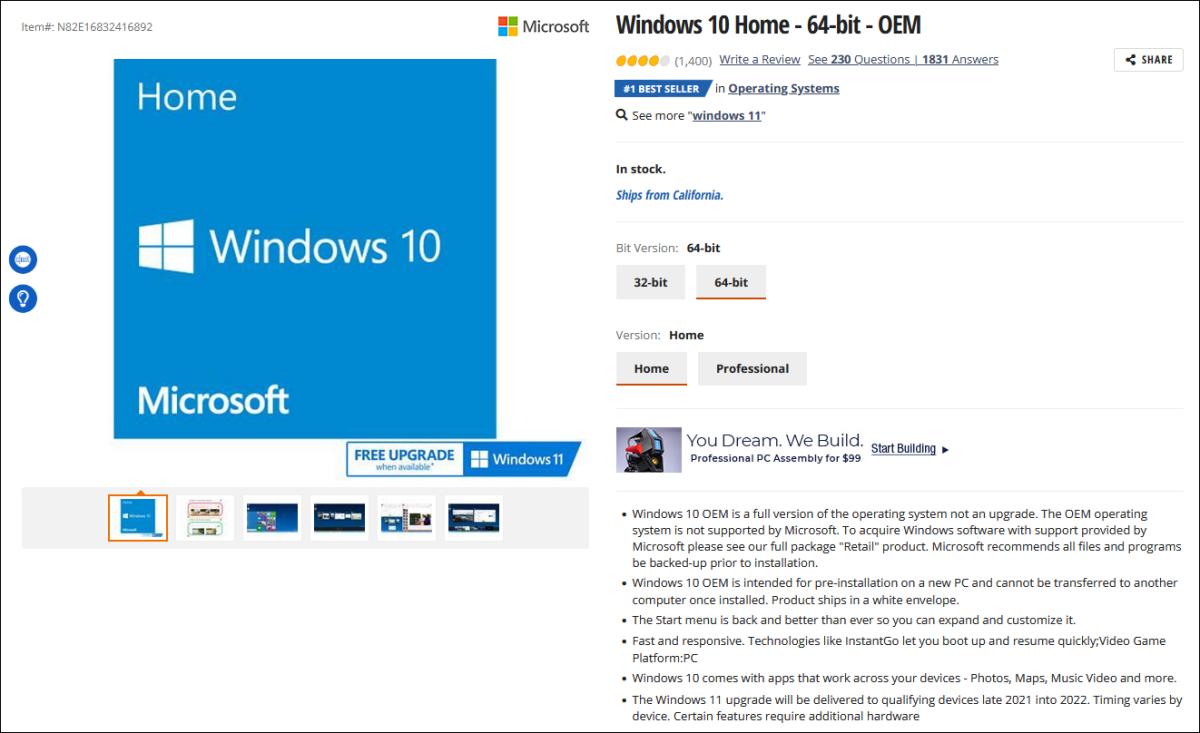 Windows 10 Home 64-bit OEM listing on Newegg